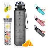 Opard 32oz Sports Water Bottle with Motivational Time Marker to Drink, Reusable BPA Free Tritan with Filter for Gym and Outdo