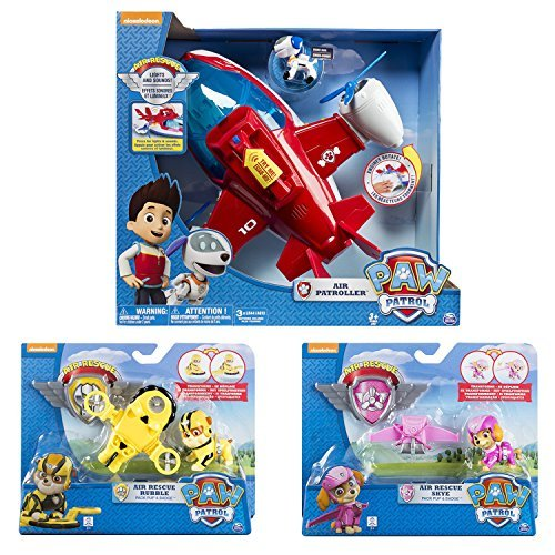 Maven Gifts: Paw Patrol, Lights and Sounds Air Patroller Plane - Paw Patrol, Air Rescue Rubble, Pup Pack & Badge - Paw Patrol, Air Rescue Skye, Pup Pack & Badge