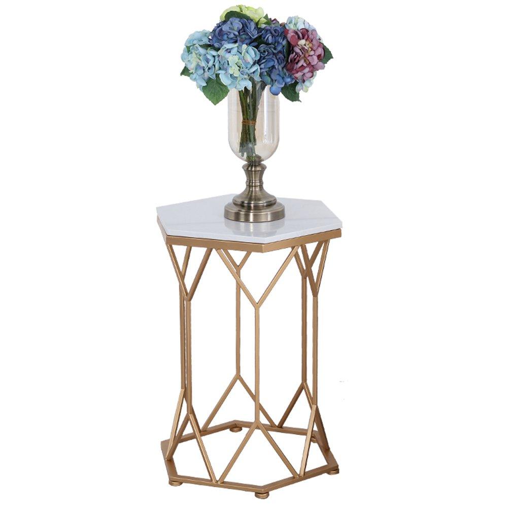 CSQ 鉄のコーヒーテーブル、ガラスの大理石の小さな幾何学的なテーブル創造的な家具金属のブラケットのコーヒー表46 * 60cm コー\u200b\u200bヒーテーブル (色 : Gold-#3) B07DNNNN5W Gold-#3 Gold-#3