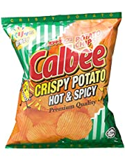 Calbee Crispy Potato Chips, Hot & Spicy, 80g