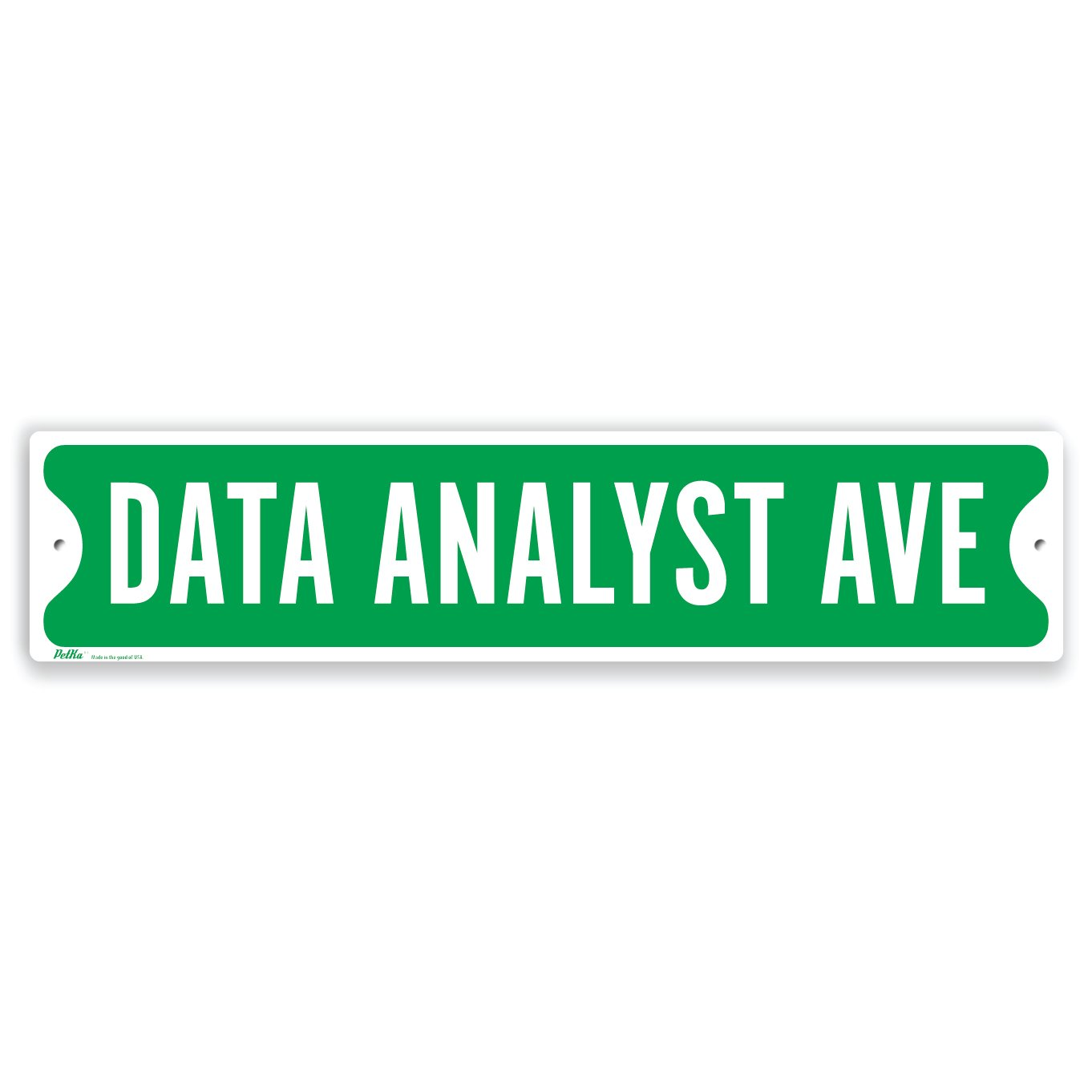 PetKa Signs and Graphics PKSS-0031-NA_18x4''Data Analyst Ave'' Aluminum Sign, 18'' x 4'', White on Green