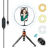 WOWGO 10 tums LED-ringlampa med stativstativ och telefonhållare, dimbar Selfie Desk Ring Lampa Kit med 3 färglägen och…