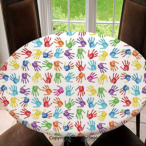 Elastic Edged Round Tablecloth Human Handprint Kids Watercolor Paint Effect Open Palms Collage Art Work Print for Thanksgiving, Catering Events, Dinner Parties, Special Occasions or Everyday Use, 55