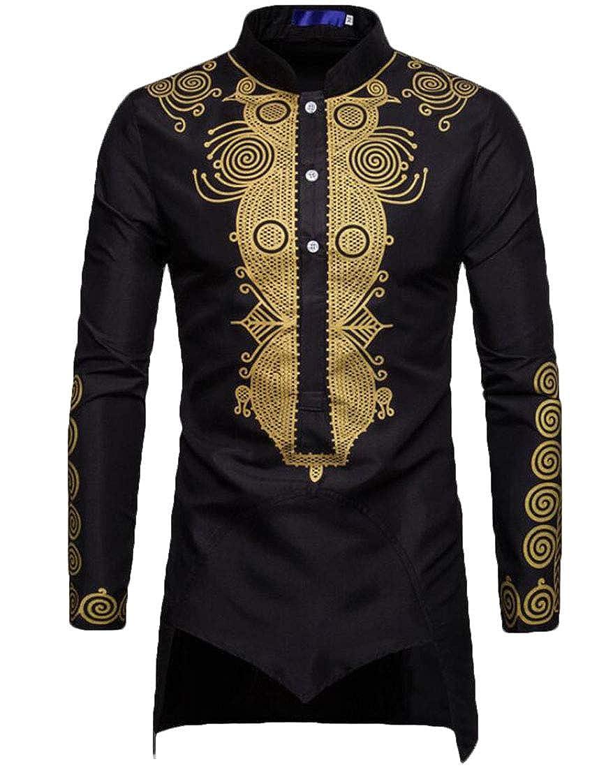 Zantt Men African Print Dashiki Stylish Irregular Stand Collar Long Shirts