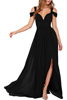 HONGFUYU Off The Shoulder Straps Side Slit Ocean of Elegance Maxi Dress Prom Gown