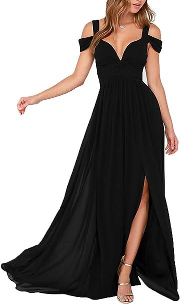 Damen Lang A Line V Ausschnitt Abendkleider Brautjungfernkleider Ballkleider Festkleider Mit Schlitz Black Uk10 Amazon De Bekleidung