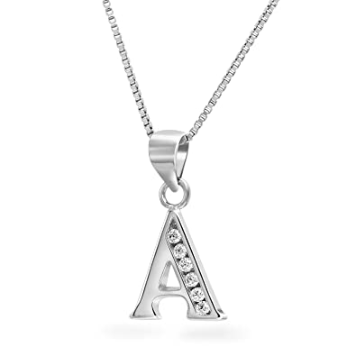 368889e6e3a3 Amazon.com  Art and Molly Sterling Silver Cubic Zirconia Alphabet Initial  Pendant Necklace Letter A