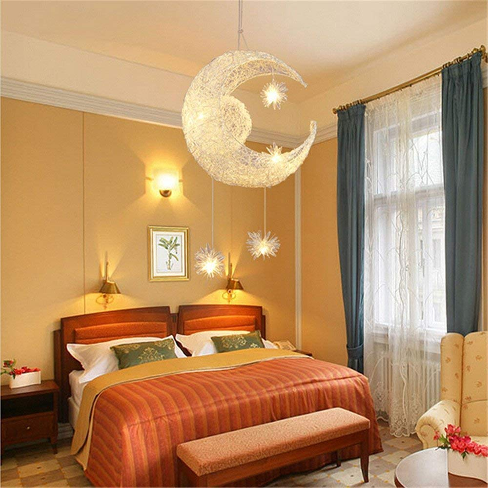 Goeco Moon Stars Creative Modern Chandelier Pendant Lighting for Girls Room,Balcony,Bedroom,110V