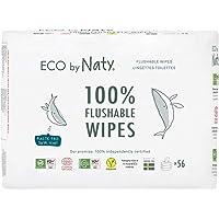 Eco by Naty Flushable Babydoekjes, 168 count 3 verpakkingen van 56) Plantaardige Composteerbare doekjes van 0 procent…