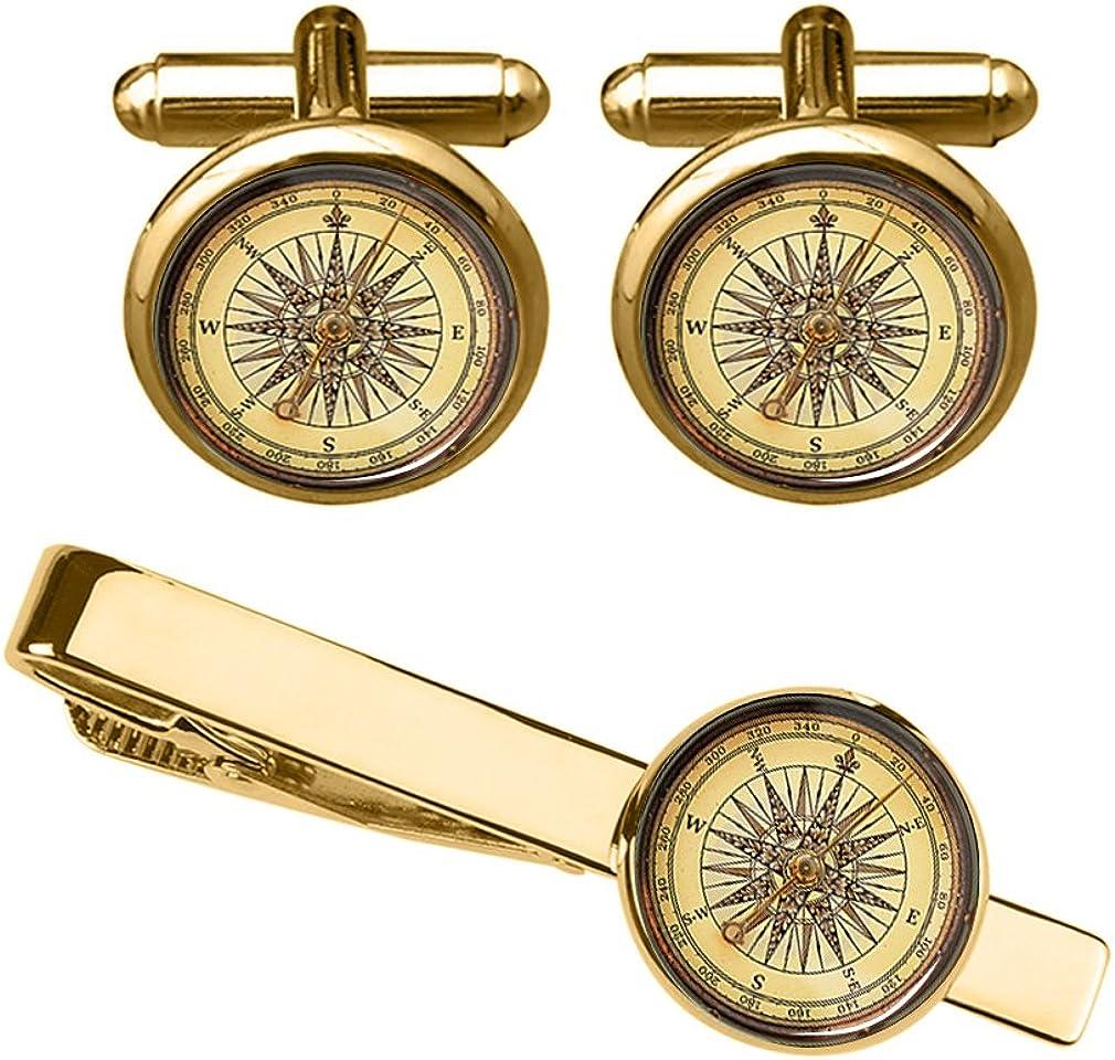 ZUNON Compass Cufflinks Steampunk Wedding Navigation Vintage Travel Direction Gift Map Tie Clip Tacks Bar