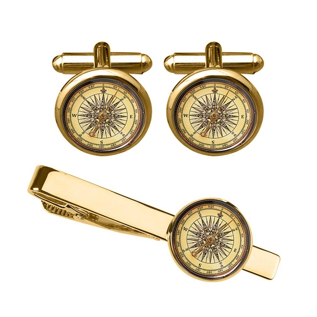 ZUNON Vintage Compass Cufflink Antique Compass Navigation Travel Direction Men Golden cuff ink (Golden Compass cufflinks and tie clip)