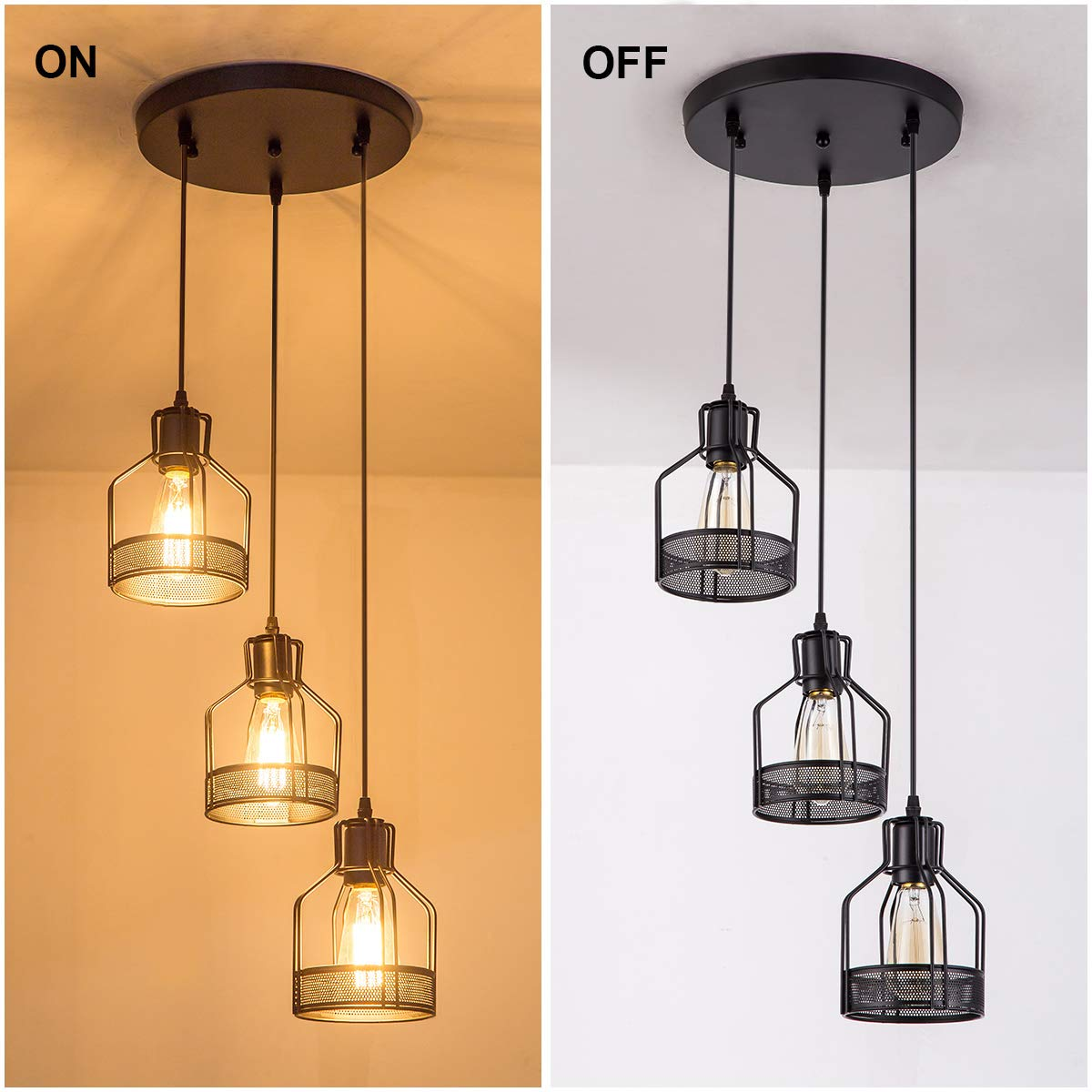 Pendant Light with Rustic Black Metal Cage Shade, Industrial Retro Matte Black Adjustable 3-Lights Hanging Lighting, Pendant lamp Fixtures for Home, Kitchen Island, Barn, Dining Room, Cafe, Farmhouse by ZYuan (Image #4)