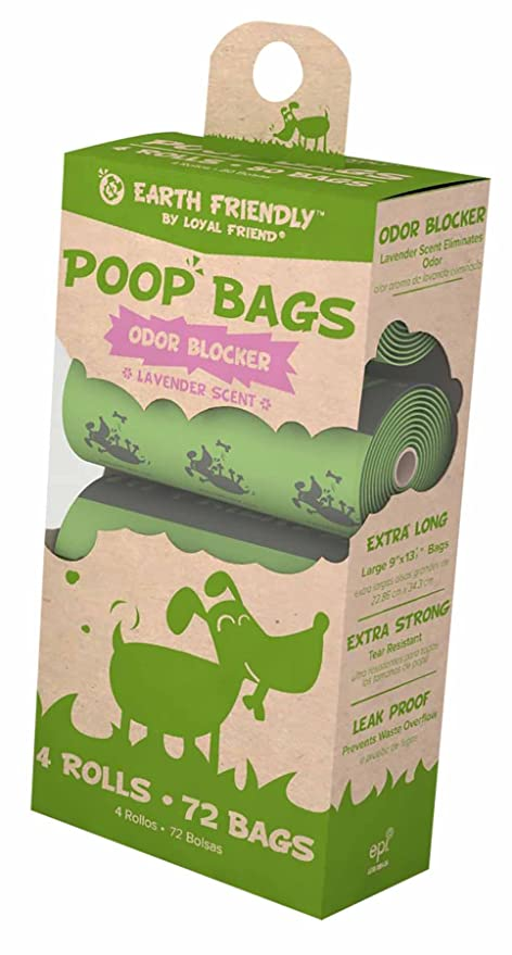 Earth Friendly Poop Bags 4 Refill Rolls 72 Bags Lavender Scented by Loyal Friend