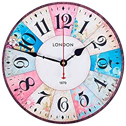 KI Store Wall Clocks Decorative Silent Non Ticking Pink Wall Clock Vintage Spring Floral 12 Inch for Girls Bedroom Living Room Kitchen Office