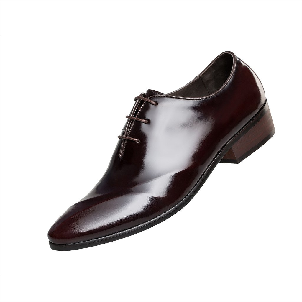 Patent Leather Pointed Toe Lace Up Tuxedo Oxfords ZRO Men's Dress Shoe Wine US10