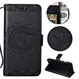 Stysen Wallet Case for iPhone 5 5S,Floral Case for iPhone SE 5S 5,Pretty Elegant Embossed Totem Flower Pattern Black Bookstyle Magnetic Closure Pu Leather Wallet Flip Case Cover with Wrist Strap and Stand Function for iPhone SE 5S 5-Totem Flower,Black