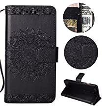 Stysen Galaxy Note 9 Wallet Case,Galaxy Note 9 Floral Case,Pretty Elegant Embossed Totem Flower Pattern Black Bookstyle Magnetic Closure Pu Leather Wallet Flip Case Cover with Wrist Strap and Stand Function for Samsung Galaxy Note 9-Totem Flower,Black