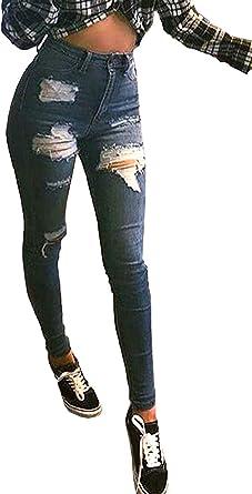 Jeans De Mujer Pantalones Elasticos Pantalones De Mezclilla De Cintura Alta Rasgados Pantalones Festivo De Cintura Alta Ajustados Pantalones De Mezclilla Pantalones Rasgados De Cintura Alta Amazon Es Ropa Y Accesorios