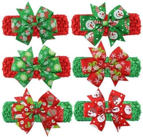 6 Pcs Headband for Girls Elastic Ribbon Christmas Headbands Acessorios De Cabelo De Menina #2658