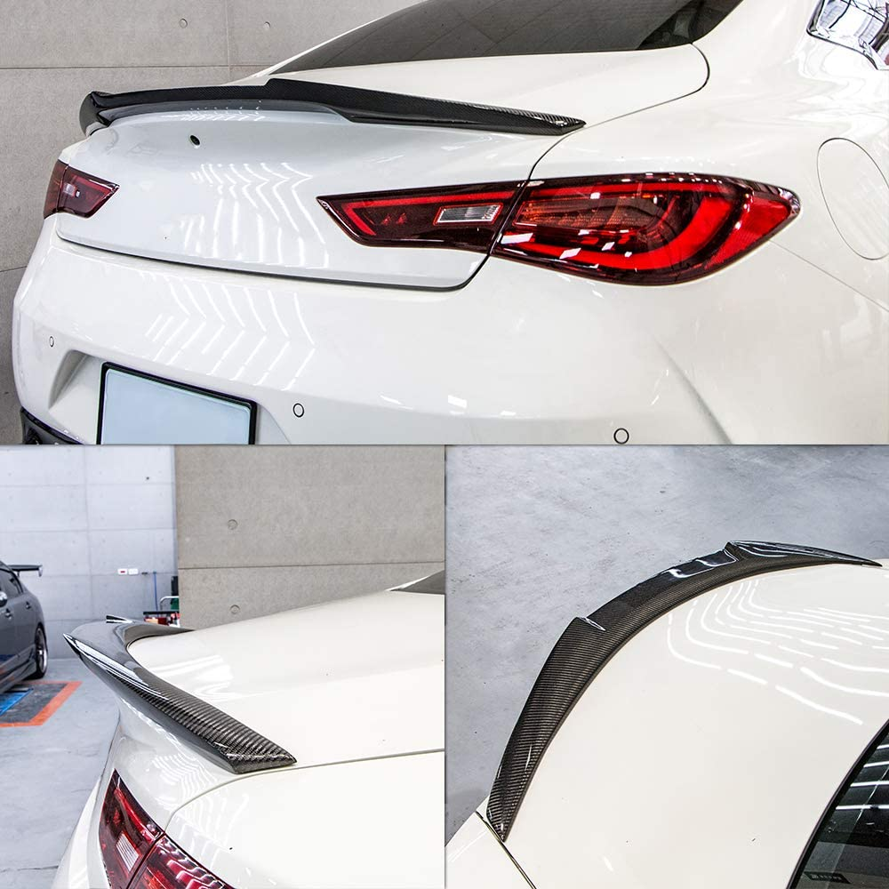 AeroBon Real Carbon Fiber M4V Style Rear Spoiler Wing Compatible with 17-20 Infiniti Q60 Q60S Coupe