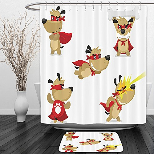 Big Hero 6 Costume Australia (Vipsung Shower Curtain And Ground MatDog Lover Decor Superhero Puppy with Paw Costume and Mystic Powers Laser Vision Supreme Talents Red Cream WhiteShower Curtain Set with Bath Mats Rugs)