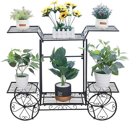unho Estantería para Macetas de Hierro Soporte de Flores Plantas para Jardín Exterior Interior Estantería Decorativa con 6 Estantes 83 x 22 x 68.5cm: Amazon.es: Jardín