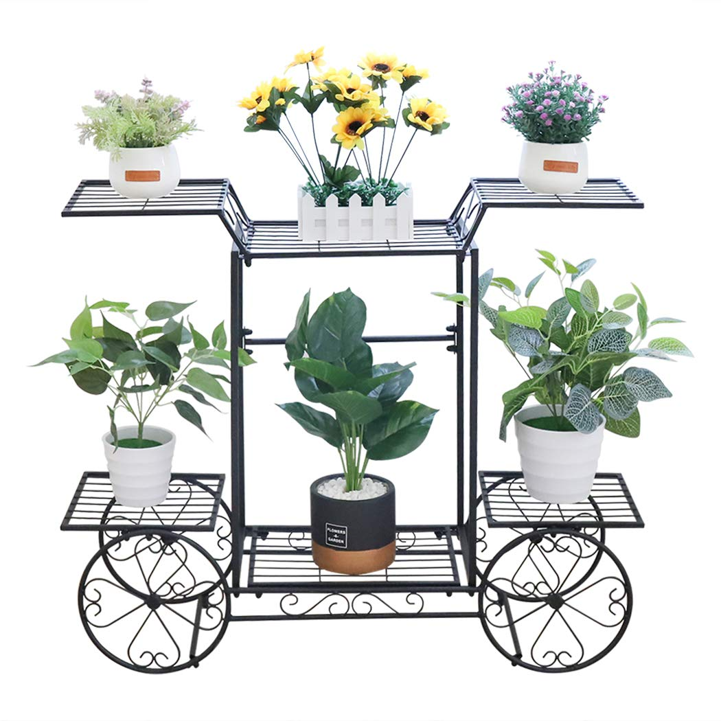 unho Estanter/ía para Macetas de Hierro Soporte de Flores Plantas para Jard/ín Exterior Interior Estanter/ía Decorativa con 6 Estantes 83 x 22 x 68.5cm