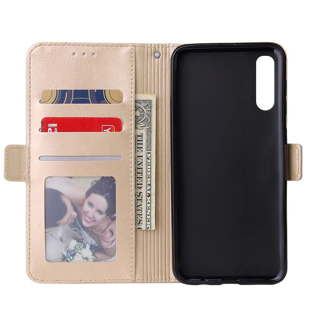 WIWJ Kompatibel mit Samsung Galaxy A70 H/ülle Rei/ßverschluss Lederh/ülle Wallet Handyh/ülle Klapph/ülle Ultra Slim Flip Case Stand Schutzh/ülle 360 Grad Bumper Tasche-Schwarz