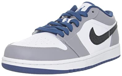 b96aa42fb45241 NIKE Air Jordan 1 Low White - True Blue - Cement Grey Mens 9