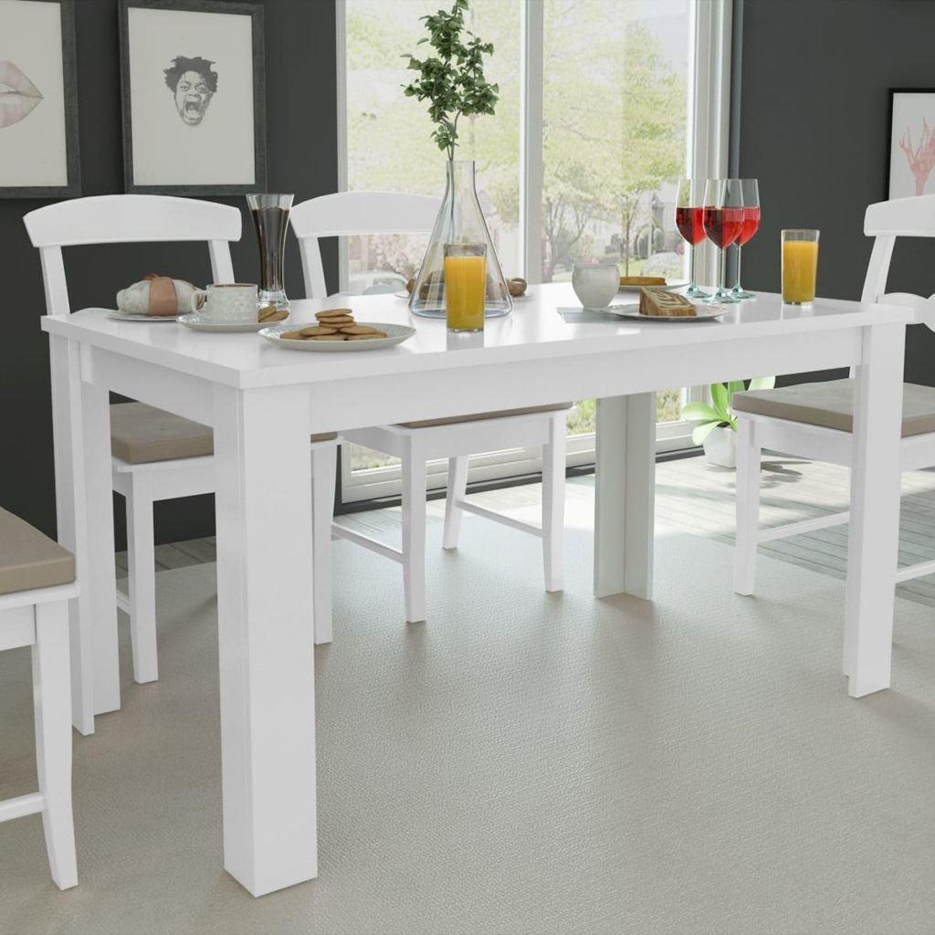 vidaXL Tavolo da Pranzo 140x80x75 cm Bianco