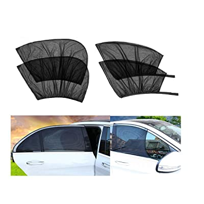 4 Pack Car Window Shades Front and Rear Window Sun Shades Protect Baby & Pets from Harmful UV Anti-Mosquito Universal Fit! (Black, 4 Pack): Baby