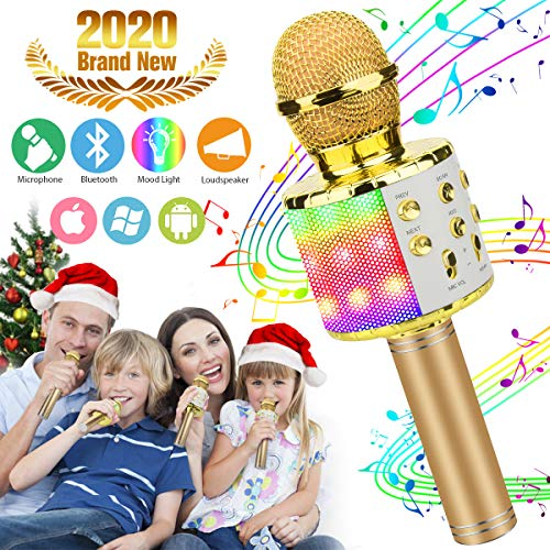 Karaoke Microphone for Kids, Kids Microphone Bluetooth With Speaker Wireless Echo Child Karaoke Mic Portable Cordless Singing Machine for Music Boys Girls Adult Party Andriod IOS Phones (Girls Mikes Little Kid)