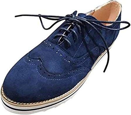 Zapatos Planos con Cordones Mujer Brogue Zapato Talón Plano Gamuza Colores Manera Tallas Grandes Botas Negro Rosa Gris Azul Marrón 35-43 EU Azul 38: Amazon.es: Zapatos y complementos