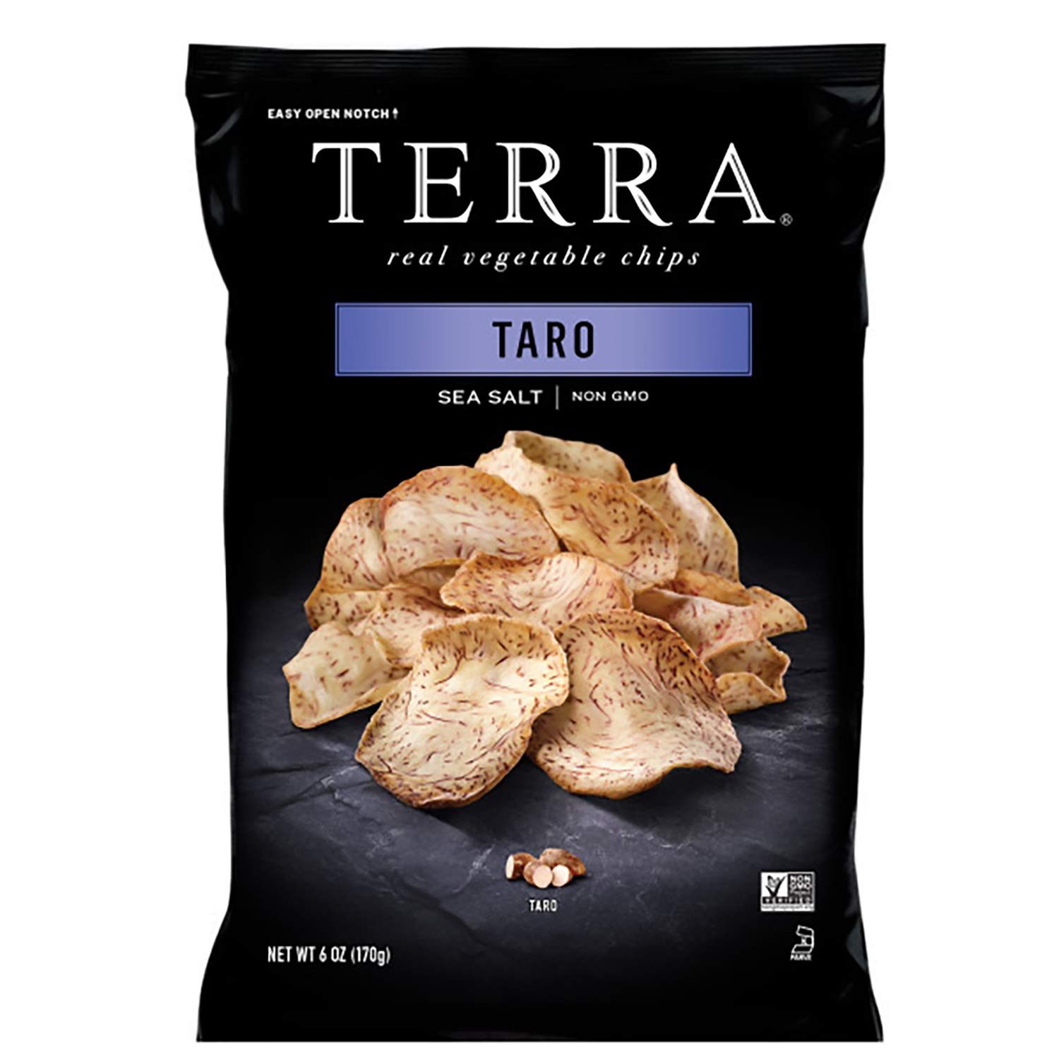 Terra Taro Vegetable Chips with Sea Salt, 6 Oz (Pack of 12)