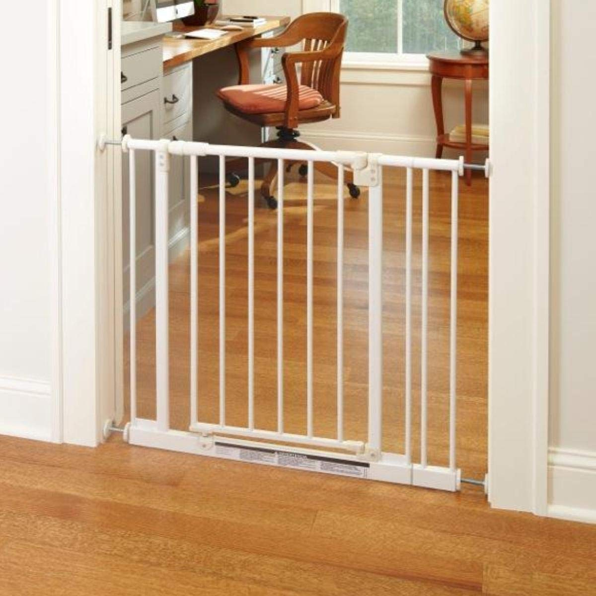 North States 38.5'' Wide Easy-Close Baby Gate: The Multi-Directional Swing gate with Triple Locking System - Ideal for doorways or Between Rooms. Pressure Mount. Fits 28''-38.5'' Wide (29'' Tall, White) by North States