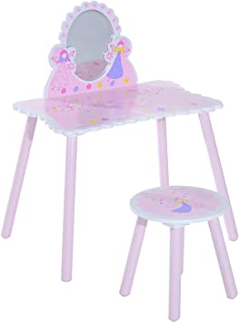 HOMCOM Tocador Infantil Mesa de Maquillaje para Niños con Espejo y ...