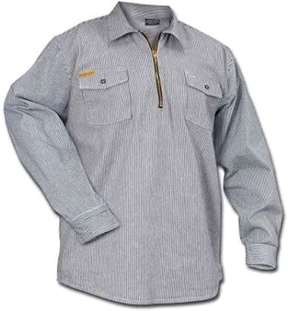 1940s Men's Shirts, Sweaters, Vests Prisonblues.net Long Sleeve Hickory Shirt $41.90 AT vintagedancer.com