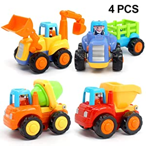 ORWINE Inertia Toy Early Educational Toddler Baby Toy Friction Powered Cars Push and Go Cars Tractor Bulldozer Dumper Cement Mixer Engineering Vehicles Toys...