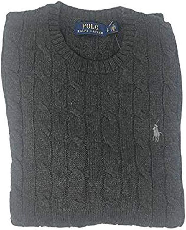 Polo Ralph Lauren Mens Pony Cable Knit Crewneck Sweater: Amazon ...