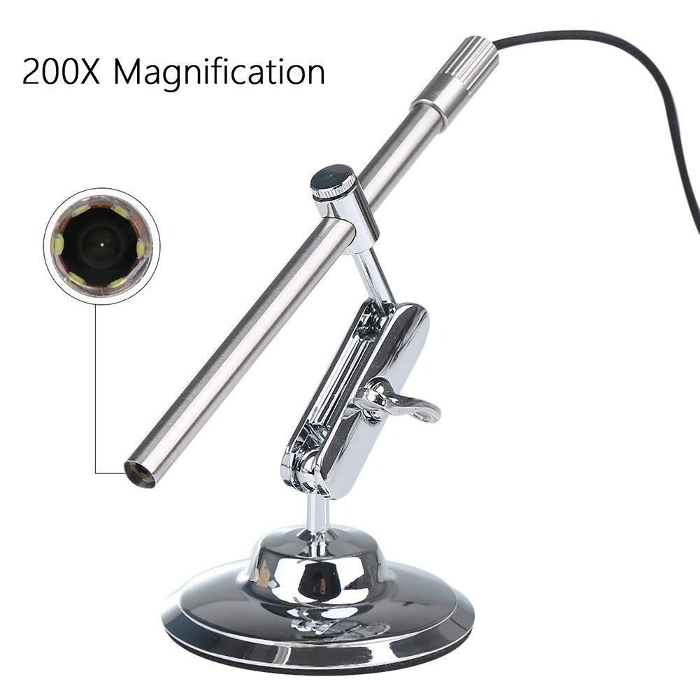 Microscopio HD USB Microscopio Digital Digital Digital con 1 Millón De Píxeles 10X A 200X Relación De Ampliación IP67 Impermeable con 6 Leds Ajustables para Android, Mac Y Windows - Plata d13d55