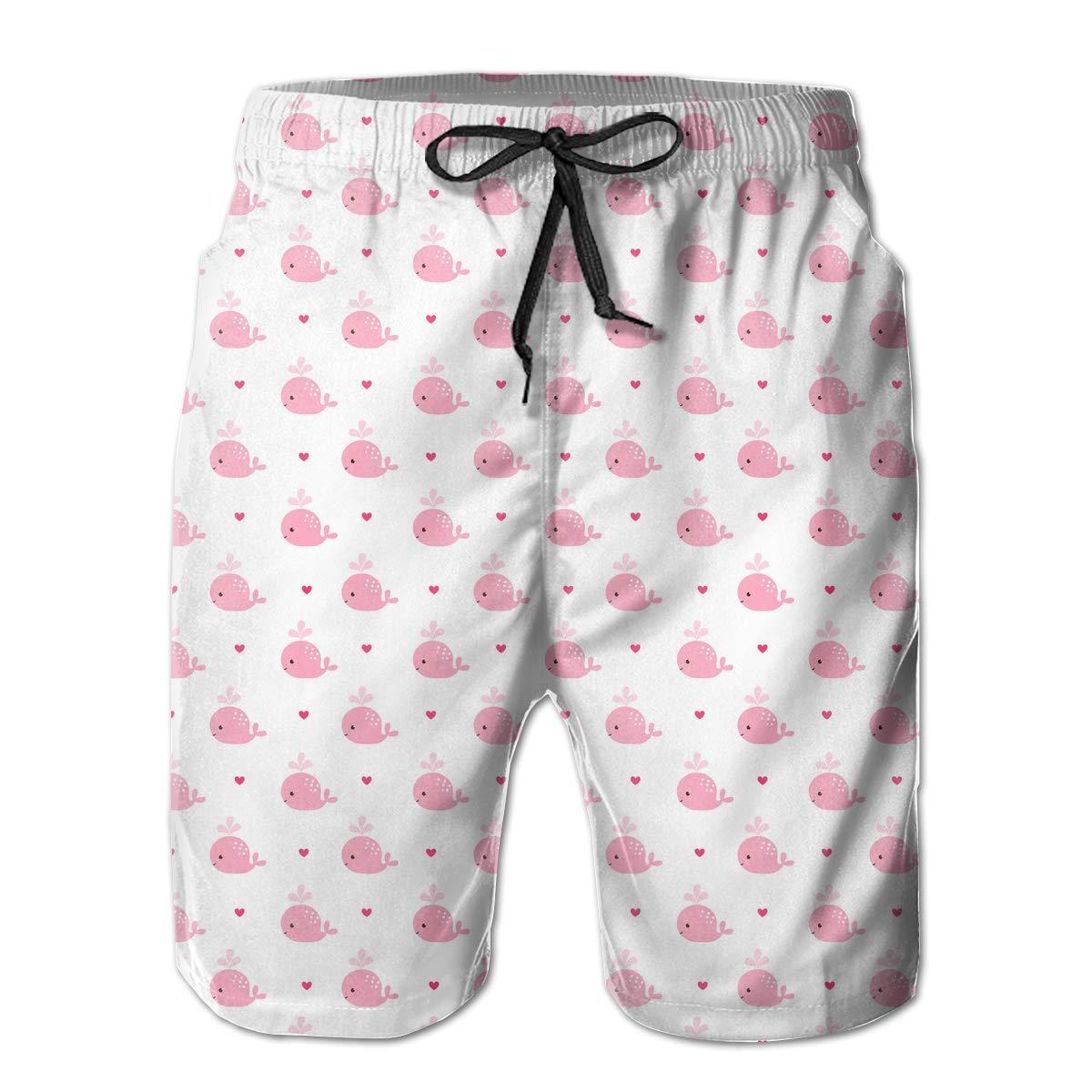 UHT28DG Cartoon Pink Whales Pattern Mens Beach Shorts Surf Yoga Swim Trunks