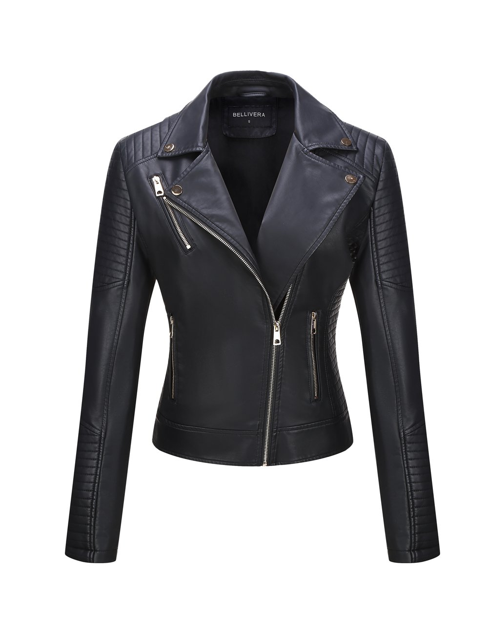 Bellivera Women's Faux Leather Jackets for Women Leather Coat for Winter Casual Short Jacket