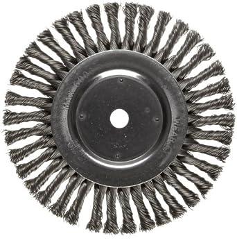 "Weiler Dualife Wire Wheel Brush, Round Hole, Steel, Full Twist Knotted, 8"" Diameter, 0.023"" Wire Diameter, 5/8"" Arbor, 1-5/8"" Bristle Length, 1/2"" Brush Face Width, 6000 rpm"