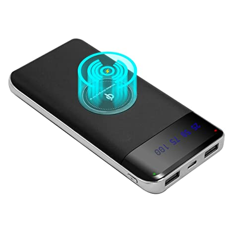 BSK-9004 PowerBank Cargador Inalámbrico, PowerBank 10000mAh,Batería Externa 10000mAh Inalámbrico con la Tecnología Qi para Samsung Galaxy S8 S6 S7 ...
