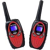 Retevis RT628 Niños Walkie-talkies 8 Canales UHF 446.00625-446.09375 MHz Portátil Radio de Juguete Radio Transmisor (Rojo, 1 par)