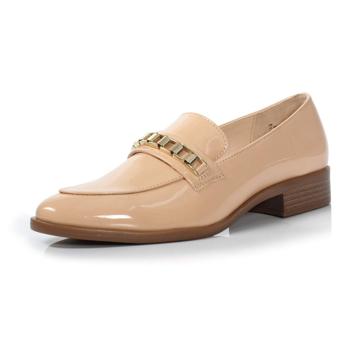 Brandon Dark Nude DUNION Women's Brandon Chain Decorated Penny Loafers Low Heels Almond Toe Casual Daily shoes