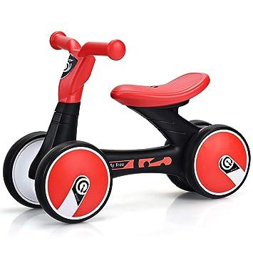 COSTWAY Bicicleta Sin Pedal para Niño con 4 Ruedas Bicicleta de Equilibrio para 1-3 Años Carga de 25KG (Negro y Rojo): Amazon.es: Deportes y aire libre