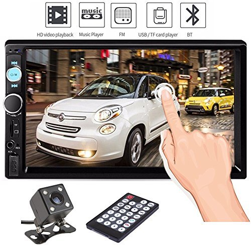 Double Din Car Stereo, Ewalite 7 '' inch Touch Screen In Dash Car Radio Receiver Audio Video Player Supports Bluetooth FM Mp3 MP5/TF/USB/AUX/Subwoofer with Rear View Camera + Remote (Fm Lens Accessories)