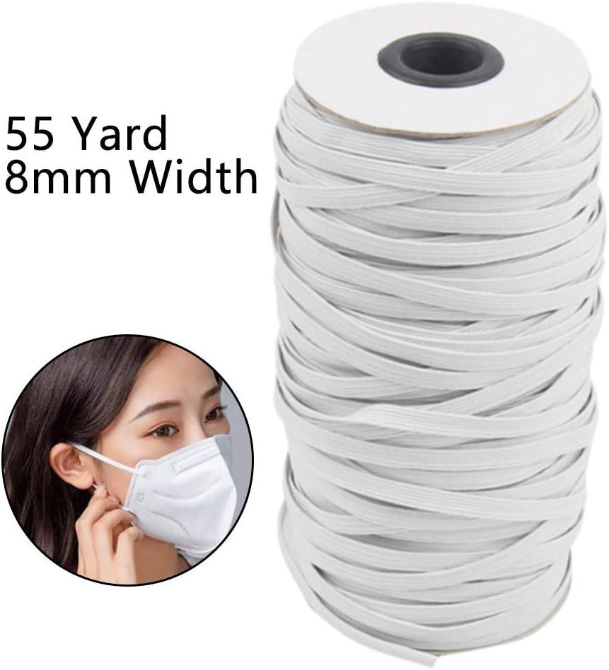 ForgetMe Corde Extensible Ruban Plat Blanc Ruban /élastique pour v/êtements 3//4//5//6//7//8mm 50m 3mm 50m