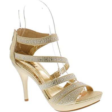 6e3c4367d Bonnibel Amy-34 Womens Back Zipper Sparkle Evening Wedding Promo Sandals  Shoes